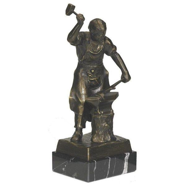 Bronzezefigur Schmied mit Amboss und