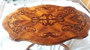 Couchtisch Wohnzimmertisch Echtholz Intarsien Fußgestell