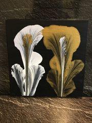 Bild Blumen Acryl Selfmade Schwarz