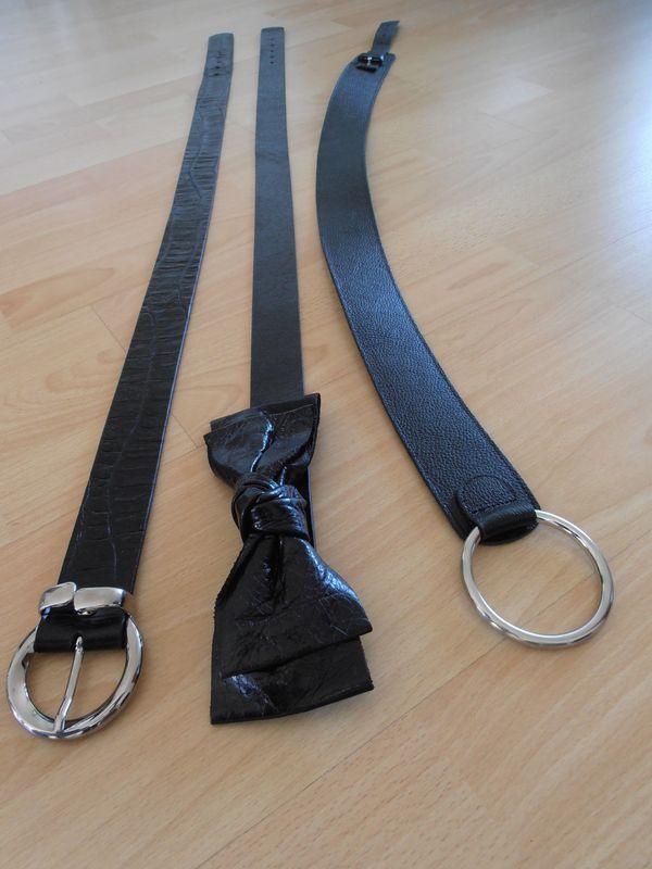 3 neue Gürtel schwarz Leder