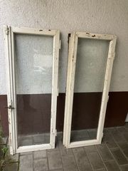 2 antike Holzfenster Eiche Weiß