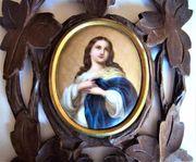 Porzellan Gemälde mit Weihwasserkessel Madonna