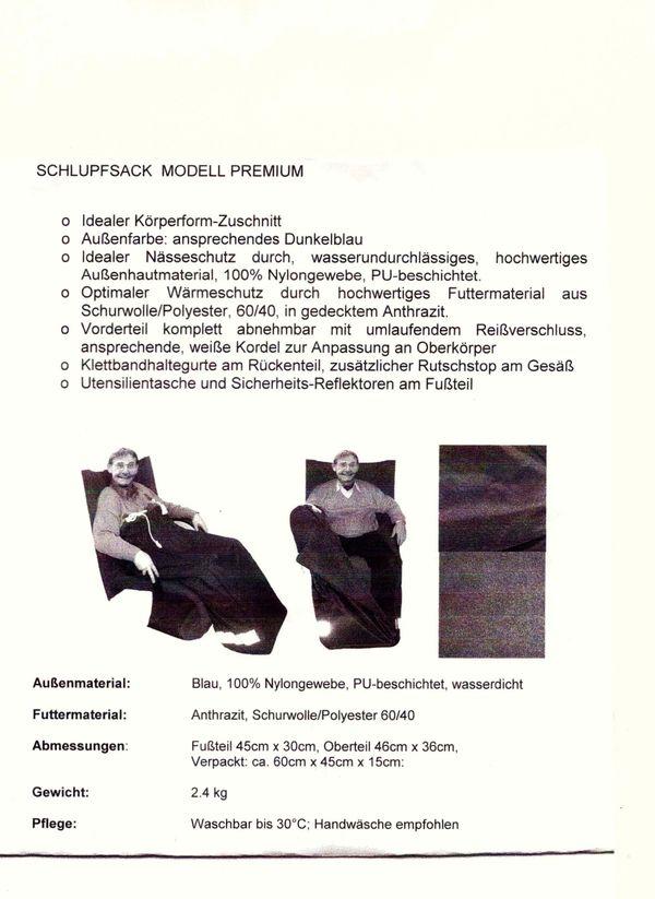 Rollstuhl-Schlupfsack mit Muff für Erwachsene