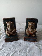 2 Buchstützen Lesende Bären