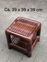 Bambushocker Hocker Bambus braun Tisch