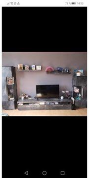 Wohnwand Wohnzimmer Grau LED