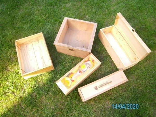 3 Weinkisten aus Holz mit
