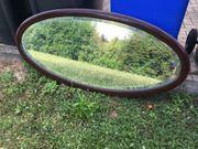 Spiegel oval dunkles Holz