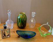 altes Glas Tropfen Vase Keramik