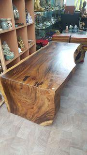 Couchtisch Baustamm Sitzbank aus Akazienholz