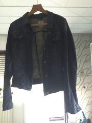 Jeansjacke mit Lederimitatkragen
