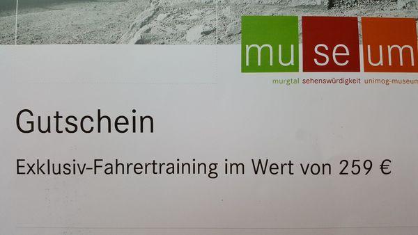 GUTSCHEIN FÜR EIN UNIMOG FAHRERTRAINING