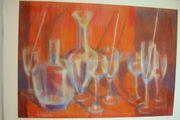 Kunstgemälde Gläser in rot