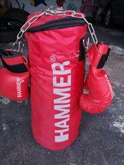 Boxsack Hammer mit Box-Handschuhen Gr