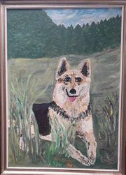 Gemälde Schäferhund in Acryl mit