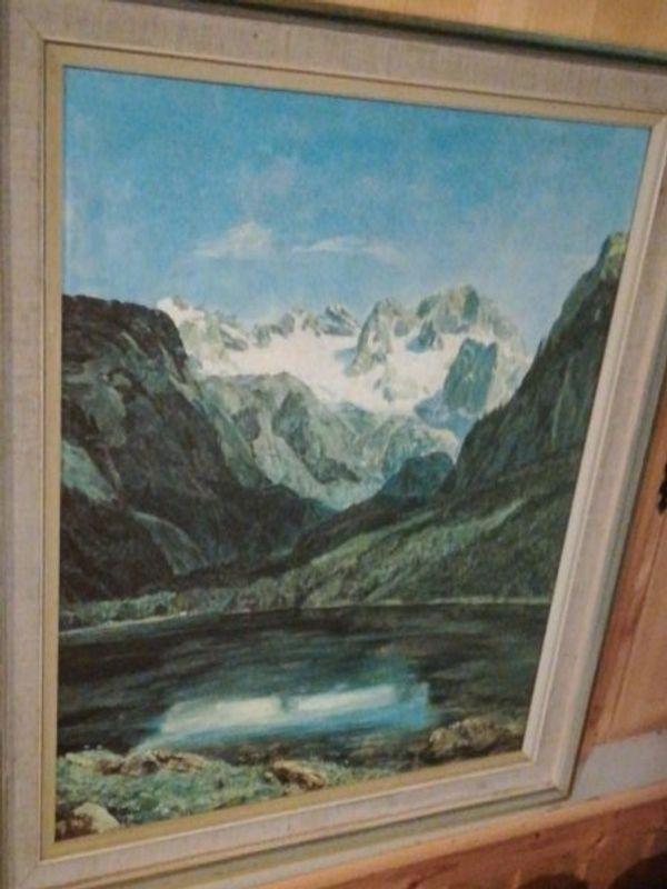 Landschaftsbild Bergsee mit Rahmen 48