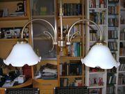 Messinglampe mit satiniertem Glas