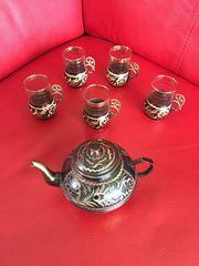 Altes Teeservice Kupferkanne und Kupferhalter