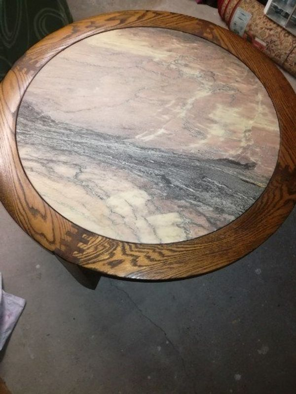 Couchtisch Eiche Holztisch mit Marmorplatte