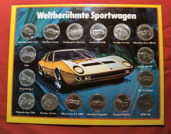 Weltberühmte Sportwagen Sammelmünzen von Shell