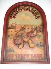 Altes Holz-Werbeschild Reklametafel Toys Games