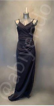 Abendkleid Abiye Satinkleid in dunkelblau
