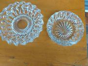 2 schöne alte Bleikristall Kristall-Aschenbecher