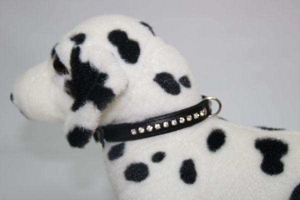 Hundehalsband Leder schwarz mit Strass