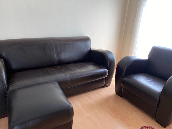 NEUWERTIG Ledercouch mit Sessel und
