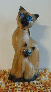 Holz-Katze Mama mit Baby