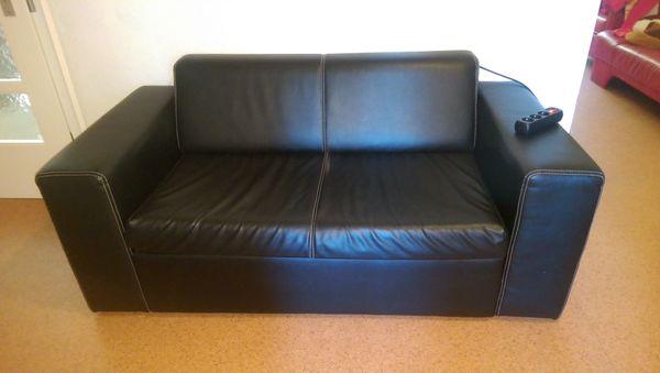 Couch Kunstleder schwarz mit Ausziehbett