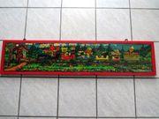 Sandmann Eisenbahnzug Malerei auf Holz