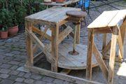 Töpferscheibe Hand Fußbetrieb großes Holzgestell
