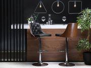 Barhocker schwarz dunkler Holzfarbton höhenverstellbar