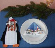 Weihnachten X-mas Tischdeko Besteckhalter Pinguin