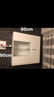 moderne Wohnwand weiß Hochglanz
