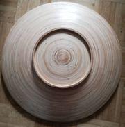 Große Holzschale Holzteller Bambusschale