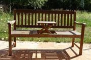 Gartenbank 3-Sitzer Holz mit Tablett