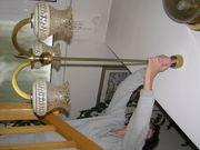 antike massive Messing-Esstischlampe