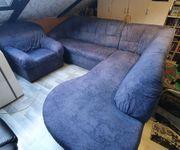 Ecksofa Couch und Sessel mit