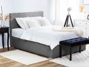 Boxspringbett grau mit Bettkasten hochklappbar