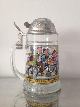 Sonstige Sammlungen - Glasbierkrug BMF - Radlerseidel mit Scharnierdeckel