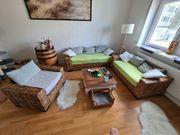 Rattan Sofa Couchgarnitur 3 2