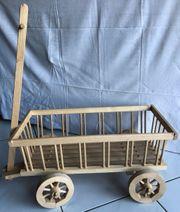 Deko-Holz-Leiterwagen Handwagen Holzwagen neu unbenutzt