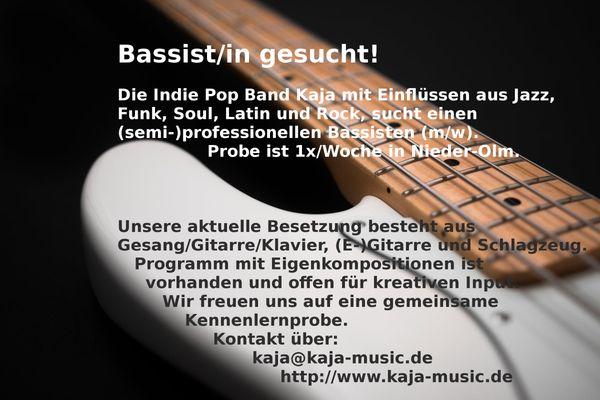 Indie Pop-Band sucht Bassist in