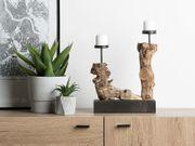 Kerzenständer Holz hellbraun FLORES neu -