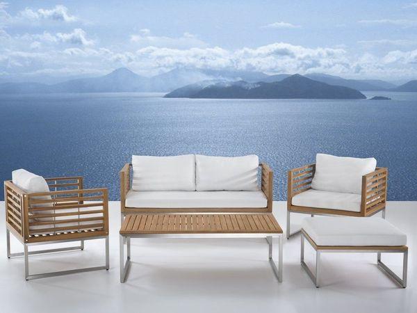 Gartenmobel Set Holz 4 Sitzer Auflagen Weiss Bermuda Von Beliani In