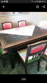 Antike Essgruppe massiver Tisch 6Stühle