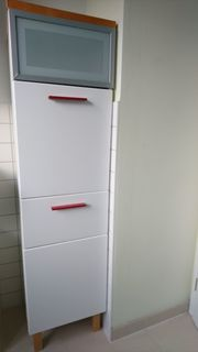 Ikea Bad Hochschrank weiss glänzend