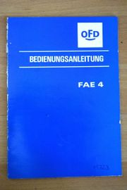 Betriebsanleitung Feinlese Abrichtung fae 4